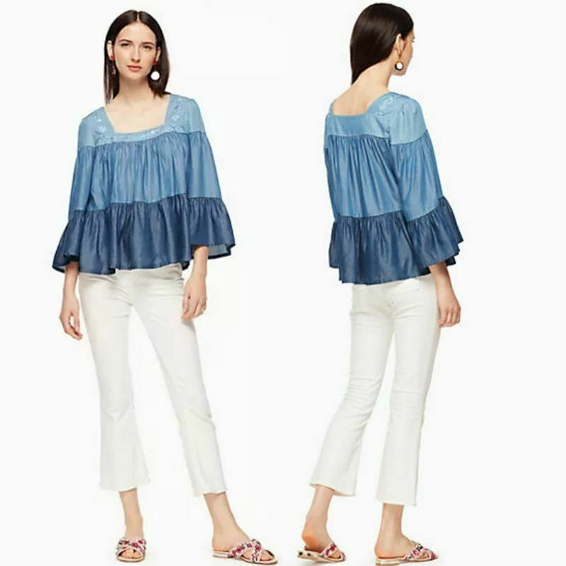 Kate Spade Women's Chambray Ruffle Floral Embroidered Smocked Blue Top - Luxe Fashion Finds