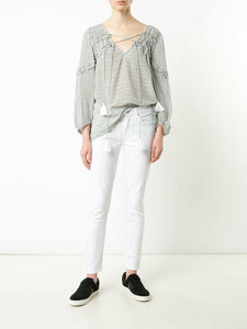 Derek Lam 10 Crosby Women's Stripe Cotton V-Neck Tassel Tie Blouse Tunic -10 - Luxe Fashion Finds