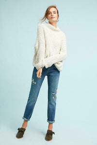 Anthropologie Women's Pilcro Boyfriend Floral Embroidery Mid-Rise Crop Jean - 27 - Luxe Fashion Finds