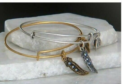 "Alex & Ani Swarovski Crystal Silver Feather ""Truth"" Charm Bangle Bracelet - Luxe Fashion Finds"