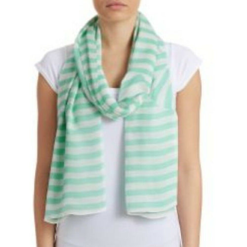 Kate Spade Bow Stripe Mint Licquer Oblong Green White Scarf Shawl Wrap - Luxe Fashion Finds