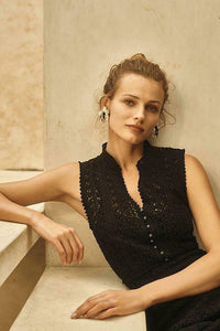 Anthropologie Women's Crochet Lace Sleeveless V-Neck Fit & Flare Black Dress - Luxe Fashion Finds