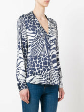 Load image into Gallery viewer, Equipment Women's Adalyn Silk Animal Print V-Neck Blue Button Up Shirt - Luxe Fashion Finds