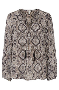 Joie Women's Calla B Silk V-Neck Paisley Print Boho Tassel Tie Black Ivory Blouse - S - Luxe Fashion Finds