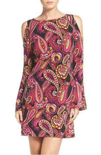 Load image into Gallery viewer, Trina Turk Deon Paisley Jersey Cold-Shoulder Bell Sleeve A-Line Dress - Large - Luxe Fashion Finds