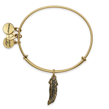 "Load image into Gallery viewer, Alex & Ani Swarovski Crystal Gold Feather ""Truth"" Charm Bangle Bracelet - Luxe Fashion Finds"