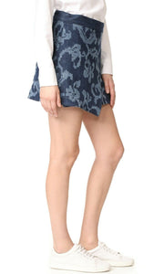 Rag & Bone Marina Textured Blue Indigo Denim Wrap Mini Skirt - 8 - Luxe Fashion Finds