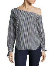 Load image into Gallery viewer, Theory Women's Off-the-Shoulder Cotton-Silk Blue White Gingham Shirt w Tie Cuffs. - Luxe Fashion Finds