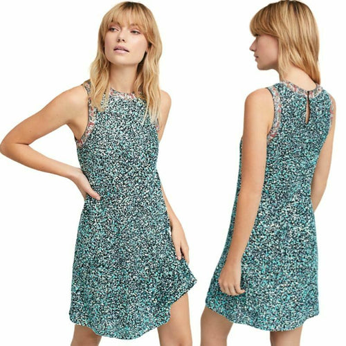Anthropologie Women's Sequin Floral Sleeveless A-Line Swing Mini Dress - 6 - Luxe Fashion Finds