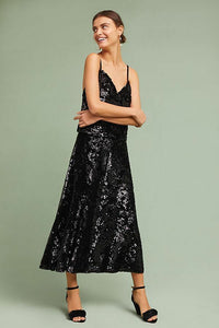 Anthropologie Just Female Sequined Black Velvet A-Line Midi Cocktail Skirt - XS - Luxe Fashion Finds