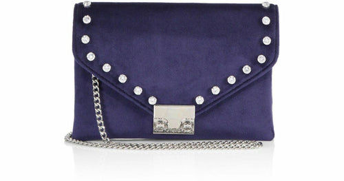 Loeffler Randall Women's Velvet Rhinestone Signature Lock Chain Crossbody Clutch - Luxe Fashion Finds