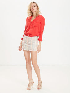 Mother Denim The Straight Mini Fray Cotton Skirt Slipstream – Mandarin Cream. - Luxe Fashion Finds