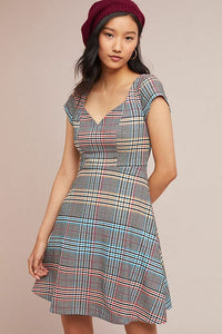 Anthropologie Women's Short Sleeve Blue Plaid A-Line Fit & Flare Dress - 14 - Luxe Fashion Finds