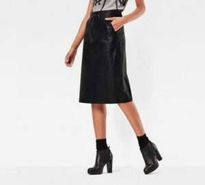 G Star Women's Vegan Faux Leather A-line Moto Black Pencil Midi Skirt - 26 - Luxe Fashion Finds