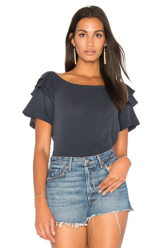 Current Elliott Women's Double Ruffle Tee Cotton Scoop Neck Blue T-Shirt – Large (3) - Luxe Fashion Finds