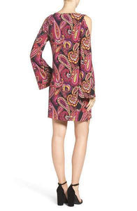 Trina Turk Deon Paisley Jersey Cold-Shoulder Bell Sleeve A-Line Dress - Large - Luxe Fashion Finds