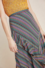 Load image into Gallery viewer, Anthropologie Women's Eliora Striped Ruffle Asymmetrical Flowy Midi Skirt, - Luxe Fashion Finds