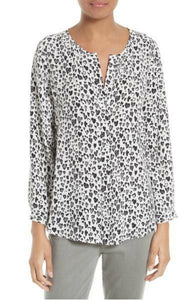 Joie Women's  Purine Silk V Neck Heart Print White Black Long Sleeve Blouse - Luxe Fashion Finds
