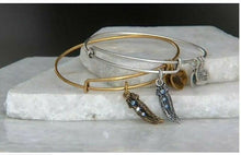 "Load image into Gallery viewer, Alex & Ani Swarovski Crystal Silver Feather ""Truth"" Charm Bangle Bracelet - Luxe Fashion Finds"