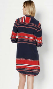 Equipment Women's Brett Silk Button Up Shirt Dress Peacoat Blue/Red Stripe - S - Luxe Fashion Finds