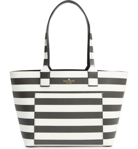 Kate Spade Jones Street Reversible Small Posey Leather Striped Open Top Tote Bag - Luxe Fashion Finds