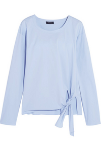 Theory Women's Serah Tie Front Stretch Cotton Long Sleeve Blue Shirt Blouse - Small - Luxe Fashion Finds