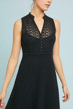 Load image into Gallery viewer, Anthropologie Women's Crochet Lace Sleeveless V-Neck Fit & Flare Black Dress - Luxe Fashion Finds