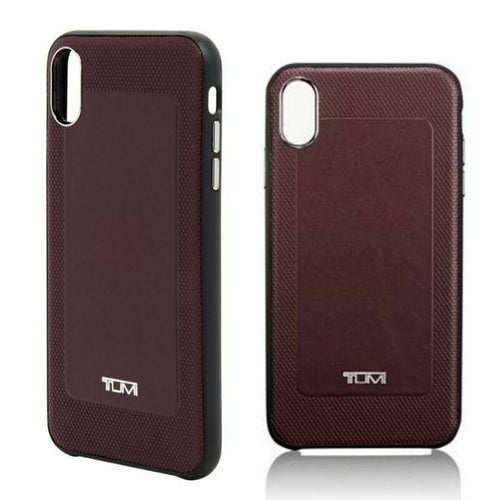 Tumi Textured Leather Protective Co-Mold iPhone Burgundy Case iPhone XS Max - Luxe Fashion Finds