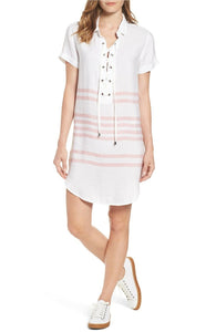 Rails Rocky Lace-Up White Pink Stripe Short Sleeve Linen Tunic Dress - M. - Luxe Fashion Finds