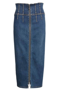 Current Elliott Trilby Silver Studded Denim High Waist Blue Pencil Skirt - 26. - Luxe Fashion Finds