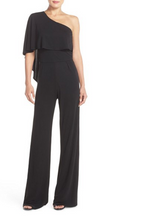 Load image into Gallery viewer, Trina Turk Women's One Shoulder Draped Retro Jersey Wide-Leg Black Jumpsuit - 0 - Luxe Fashion Finds