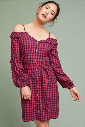 Anthropologie Guest Editor Flannel Cold-Shoulder Red Plaid Belted Shirtdress –XS - Luxe Fashion Finds
