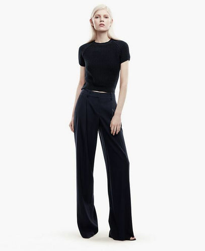 THEORY Women's Onark Wide Leg Front Pleat Tailored Navy Blue Crepe Pants  - 8. - Luxe Fashion Finds