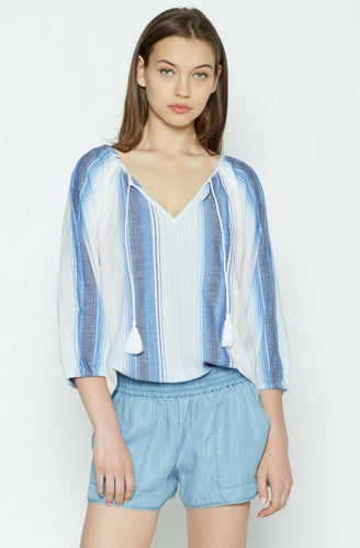 Soft Joie Women's Legaspi V-Neck Cotton Blue/White Stripe Peasant Blouse - Small. - Luxe Fashion Finds