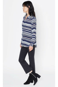 Equipment Women's Essential Silk Blue Striped Button Up Long Sleeve Shirt - XS - Luxe Fashion Finds