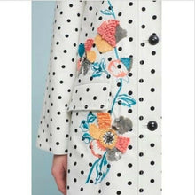 Load image into Gallery viewer, Anthropologie Women's Floral Polka Dot White Cotton A-Line Peacoat Jacket - S/M - Luxe Fashion Finds