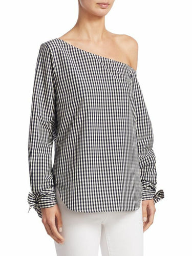 Theory Women's Off-the-Shoulder Cotton-Silk Blue White Gingham Shirt w Tie Cuffs. - Luxe Fashion Finds