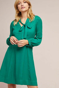 Anthropologie Women's Gina Bow Tie V-Neck Long Sleeve A-Line Kelly Green Dress - Luxe Fashion Finds