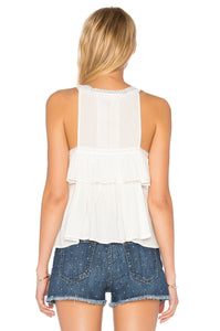 Current Elliott Women's Sleeveless Peplum Cotton Lace White Tank Top– 3 (Large) - Luxe Fashion Finds