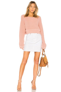 Rag & Bone  Moss Raw Hem White Cotton Twill Denim Mini Skirt - 24 - Luxe Fashion Finds