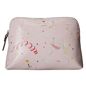 Kate Spade Women's Dashing Beauty Small Briley Pink Cosmetics Travel Clutch Bag - Luxe Fashion Finds