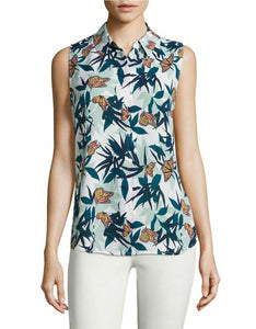 Equipment Colleen Silk Sleeveless Butterfly Palm Print  Button Up White Shirt - Luxe Fashion Finds