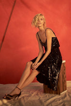 Load image into Gallery viewer, Anthropologie Just Female Sequined Black Velvet A-Line Midi Cocktail Skirt - XS - Luxe Fashion Finds