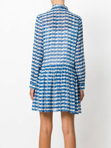 Opening Ceremony Women's Silk Striped Pleated Drop Waist Blue Shirt Dress - Luxe Fashion Finds