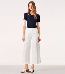 Tory Burch Women's Jodie Jacquard Tailored White Cotton Wide-Leg Crop Pant  27 - Luxe Fashion Finds