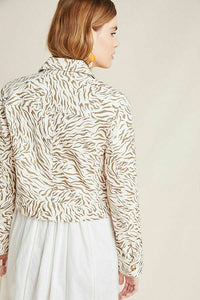 Anthropologie Women's Pilcro Animal Print Denim Trucker Off White Crop Jacket -M. - Luxe Fashion Finds