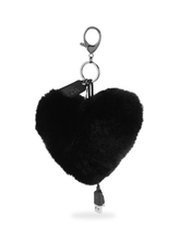 Load image into Gallery viewer, Rebecca Minkoff Heart Shape Rabbit Fur Power Puff Keychain iPhone Charger, Black - Luxe Fashion Finds