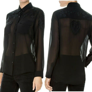 Kooples Women's Floral Embroidered Crepe Button Up Shear Black Shirt  - XS - Luxe Fashion Finds