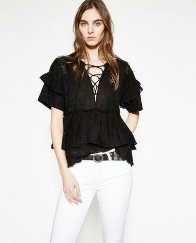 Kooples Women's Ruffle Peplum Cotton Broderie Lace Up Black Blouse - XS - Luxe Fashion Finds