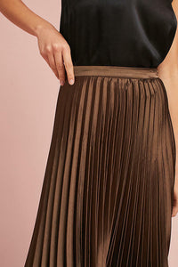 Anthropologie Pleated A-Line Copper Satin Black Laced-Hem Midi Flowy Skirt - M - Luxe Fashion Finds